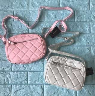 NEW Forever 21 Quilted Sling Crossbody Bag F21 (Light Pink)