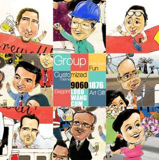 Group caricature From 5 pax  A4/A3/A2 or even 1.20m