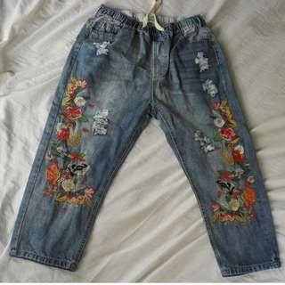Garterized Floral Embroidered BF Jeans (Freesize and Quality)