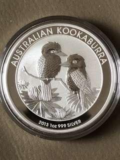2013 Australian Kookaburra 1 oz Silver Coin