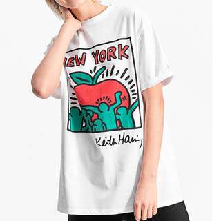 PO New York Wording Art Print T-Shirt Keith Haring Inspired White