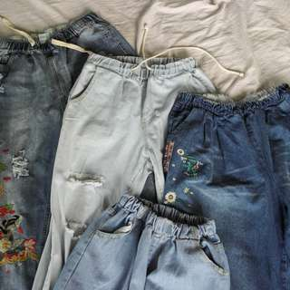 Garterized Jeans BUNDLE. Mix of: Mom Jeans, Cullotes, BF Jeans, Ripped BF Jeans (GET 200 off)