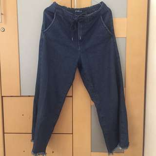 Wide Leg Jeans with Fringe (Pull&Bear) Size S