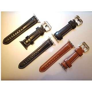 (熱賣款) Apple Watch 錶帶 Panerai 頭層牛皮帶款 深啡 淺啡 黑色 藍色 棗紅色 38mm 42mm Apple Watch full-grain leather Strap!!..