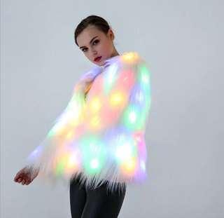 LED light up faux fur coat