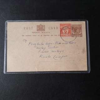 Malaya  Postage Paid Penang 1956