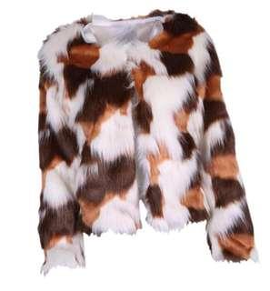 Patchwork brown & white faux fur coat