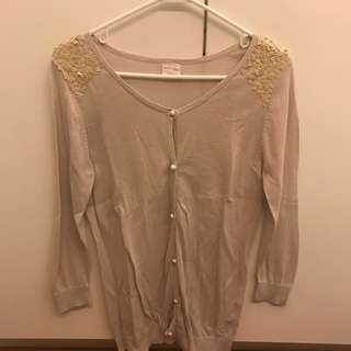 Kashieca light gray cardigan with sequins