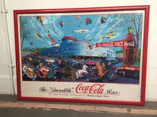 "[TSHSE] Vintage The ""Incredible"" Coca Cola Race Puzzle with Frame"