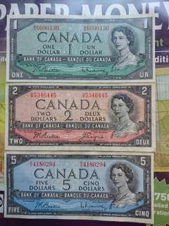 Canada 1954 Set 1 to 100 dollars