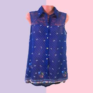 Royal Blue Sleeveless with collar