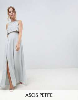 ASOS DESIGN petite silver embellished crop top maxi dress
