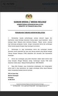 All sales to Tabung Harapan Msia