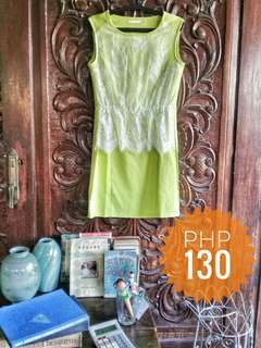 Neon Green Dress w/ lace