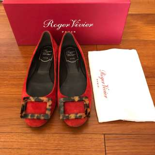 Roger Vivier Flats - Gommette Turtle Buckle Flats, Red