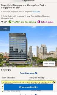 one night stay at days hotel @ zhongshan park singapore
