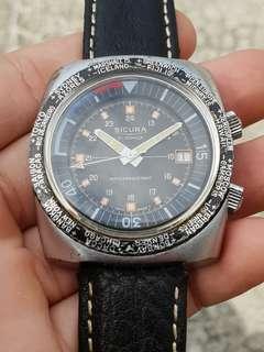 Jam tangan Rare Vintage Sicura World Timer by Breitling Switzerland Perfecr Condition
