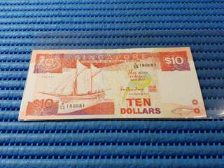180081 Singapore Ship Series $10 Note C/56 180081 Nice Prosperity Radar Number Dollar Banknote Currency