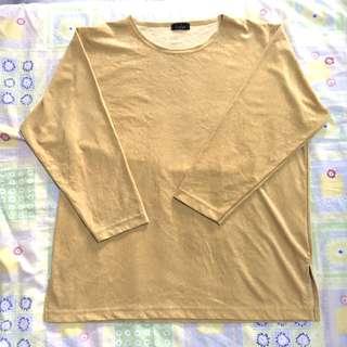Oversized Long Sleeves Mustard Velvet Top/Dress