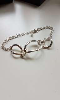 new with box! silvertone link bracelet