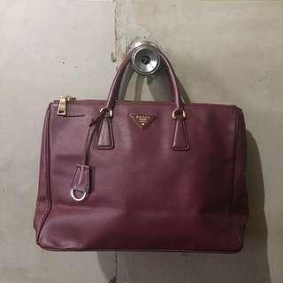 Prada Saffiano Maroon Handbag