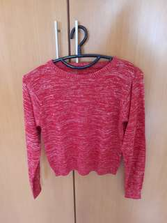 Sweater red crop top