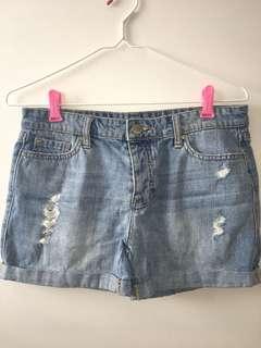 High Waisted Boyfriend Denim Shorts