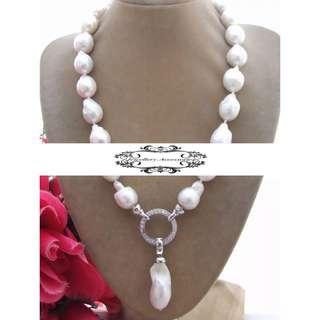 2 Ways  Design Lustrous Genuine Irregular White Keshi Pearl Necklace