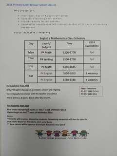English & Mathematics Primary Level Group Tuition @ Sengkang / Buangkok!!!