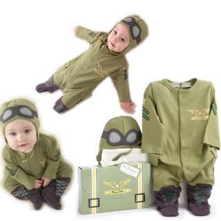 Little Air Force One 1 Pilot 2-Pc Hat & Long Sleeves Romper Outfit Costume Set for 0 - 30 Months Old (2T New Born baby 1st month 100days birthday christmas party toddler infant boy halloween girl unisex cute party career)