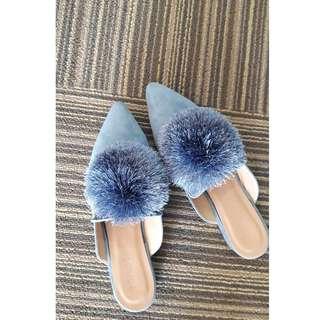 Dily Pom Pom Mule Flats - Blue Fog - RM89