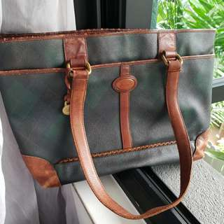 Vintage Pringle of Scotland Tote carry-on Leather Bag