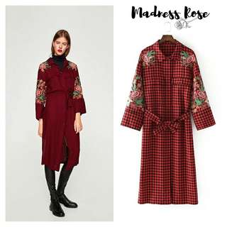 Red Checked Belted Dress