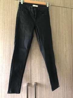 Uniqlo medium rise black denim with side zippers