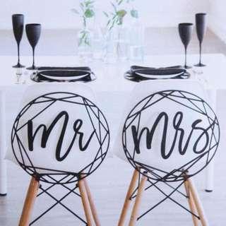 Mr. & Mrs Wood Black Signs Signage Wedding Party Decoration