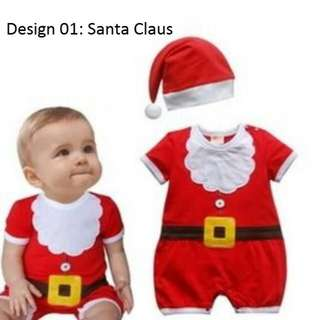 Super Cute Santa Claus Christmas Xmas Day Party Costume Outfit Romper + Hat Set (New Born Infant Baby Toddler Boy Girl Unisex 0 - 24 Months 2T Cotton)