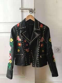 Embroidered Studs Faux Leather Jacket