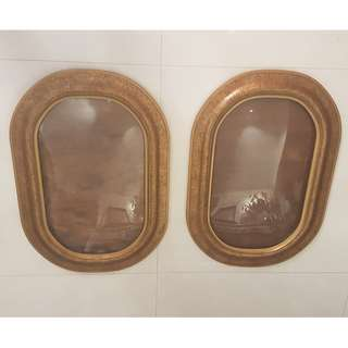 2 pieces Rare Vintage Rustic oval shaped concave photo frame