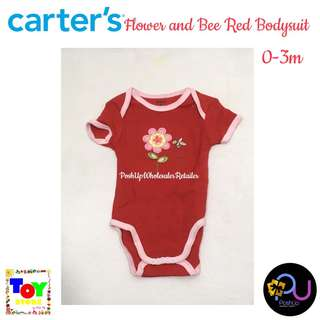 Carter's Flower and Bee Red Bodysuit 0-3m