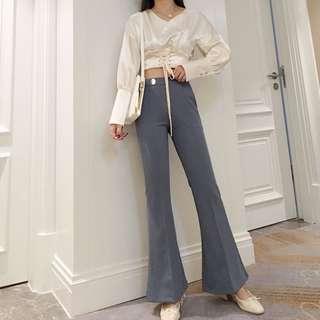 🚚 【週末女孩】歐美簡約 修身顯瘦高腰喇叭褲 復古小喇叭褲 兩色可選 XF212