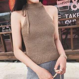 🚚 【週末女孩】春夏新款 韓系名媛淑女氣質削肩針織綁帶小可愛 駝色 XF216
