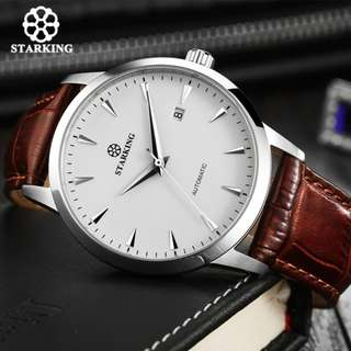 STARKING Automatic Watch Men Stainless Steel Business Wrist Watch Calkskin Leather Fashion Casual Dive 50M Auto Date Clock Male