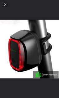 Milan X6 Meilan Smart bike tail light bike LED Light Shock and daylight Sensor switch 7 flash model USB bicycle Accessories