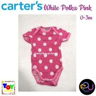 Carter's White Polka Pink Bodysuit 0-3m