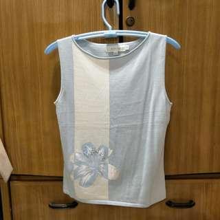 淺藍+白條紋鑲花氣質甜美風針織無袖背心XL號