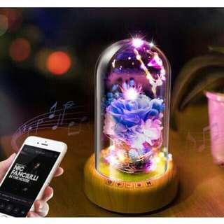 Free shipping Bluetooth speaker sound music box flower rose Fairy Led Light