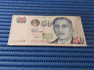 303333 Singapore Portrait Series $50 Note 4DC 303333 Almost Solid 3's Dollar Banknote Currency