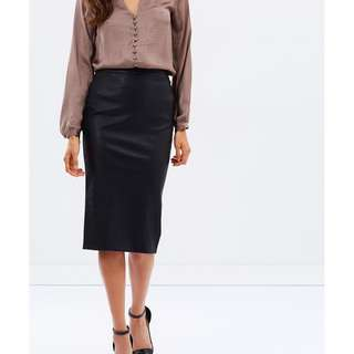 Bardot AUS Black Faux High Waisted Leather Pencil Midi Skirt AU8 RRP$69.90