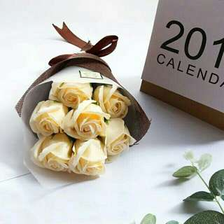 Free shipping soap flower bouquet with gift box anniversary valentines love present gift