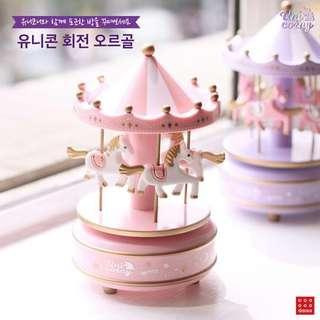 韓國大創新品「紫外光×獨角獸」旋轉木馬音樂盒